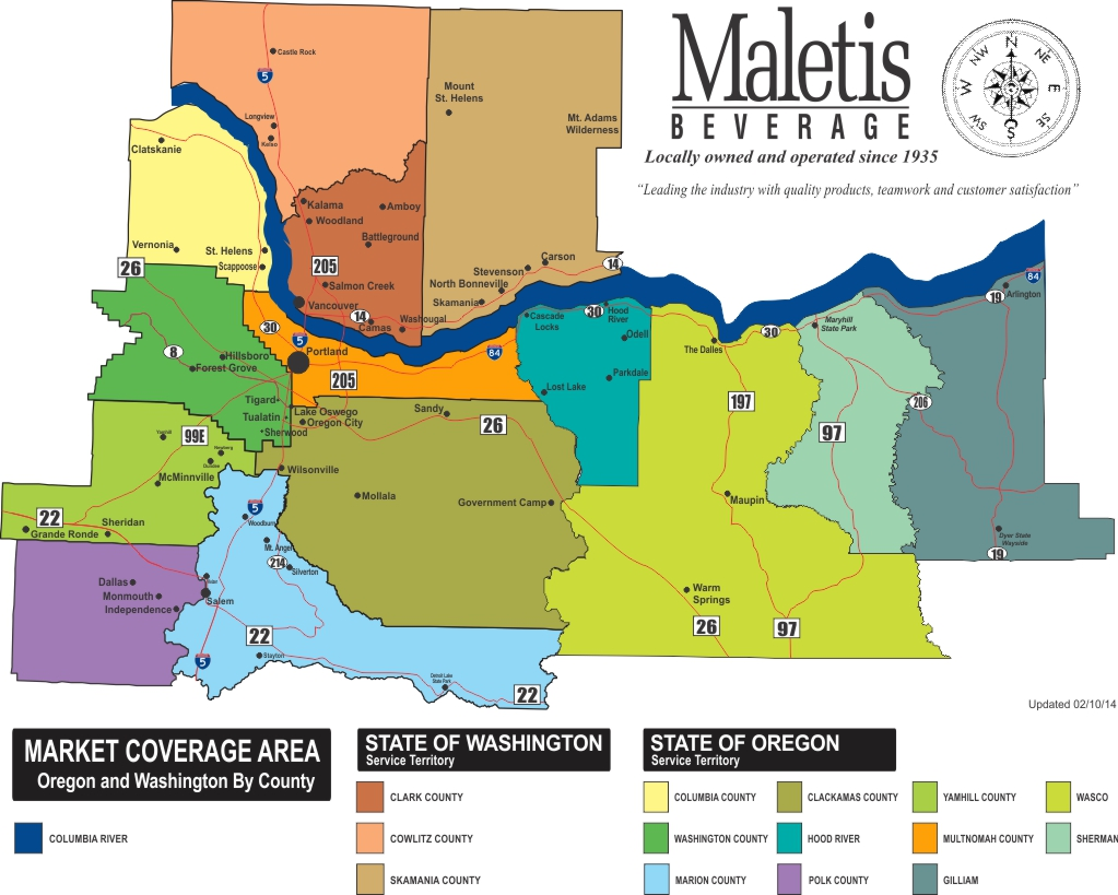 Revised 02-10-14 Maletis Territory Map By County with river - OR and WA